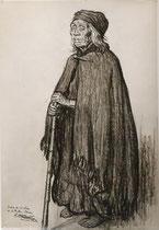 Vielle indienne Pireco de 115 ans de Temuco Chili 1925 fusain André Aaron Bilis