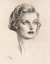 Denyse Noêl -Comedie Française 1949 fusain André Aaron Bilis