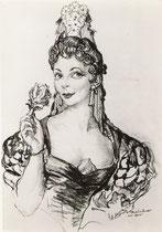 Micheline Boudet  -Comedie Française  (Rosine) 1955 fusain André Aaron Bilis