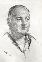 Léon Bernard -Comedie Française 1933 fusain André Aaron Bilis