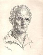 Denis d'Inès -Comedie Française 1933 fusain André Aaron Bilis