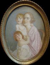 Violette Supervielle de Lassala avec ses enfants 1925 - miniature André Aaron Bilis