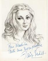 Claire Vernet -Comedie Française 1967 fusain André Aaron Bilis