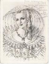 Genevieve Casile  -Comedie Française (Cyrano de Bergerac)1964 fusain André Aaron Bilis