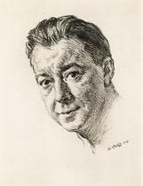Paul Meurisse -Comedie Française 1958 fusain André Aaron Bilis