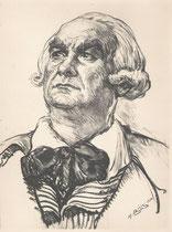 Leon Bernard -Comedie Française  (Danton) 1934 fusain André Aaron Bilis
