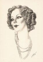 Cécile Sorel 1933 fusain André Aaron Bilis