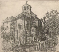 Eglise Saint Jean de Verges, Ariège  1941 André Aaron Bilis