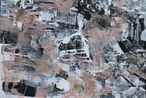 ohne Titel, 2017, Bitumen, Acryl, Pigment auf Leinwand, 80 x 120 cm