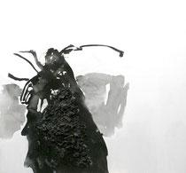 Getier, 2014, Holzkohle und Tusche auf Leinwand, 100 x 100 cm