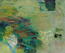ohne Titel, 2016, Ölkreide, Pigment, Eitempera auf Leinwand, 100 x 120 cm