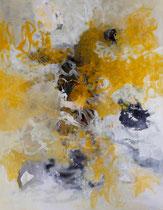 ohne Titel, 2016, Pigmente, Eitempera, Lack, Tusche auf Leinwand, 170 x 130 cm