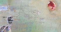 ohne Titel, 2018, Pigment, Acrl, Öl auf Leinwand,  70 x 140 cm