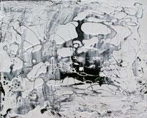 ohne Titel, 2016, Bitumen, Acryl auf Leinwand, 50 x 60 cm