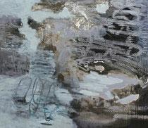 aus der Reihe der Kokons, 2014, Mischtechnik auf Leinwand,  50 x 60 cm