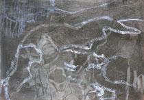 ohne Titel, 2018, Wachs, Öl, Graphitstift auf Jute, 60 x 80 cm