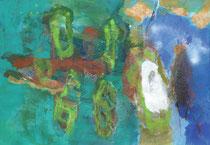 Kokons, 2014, Mischtechnik auf Leinwand,  70 x 100 cm