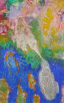 ohne Titel, 2018, Pigmente, Öl, Ölkreide, Wachs, 60 x 80 cm