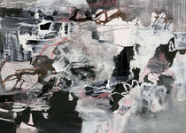 ohne Titel, 2016, Tusche, Acryl, Bitumen, Ölkreide, 100 x 140 cm