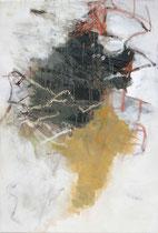 ohne Titel, 2016, Bitumen, Pigmente, Ölkreide, Eitempera auf Leinwand, 120 x 79 cm