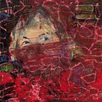 in rot gehüllt,2019, 60 x 60 cm, Öl, Kreide, Gaze auf Leinwand