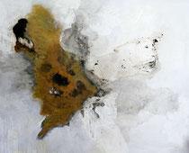 ohne Titel, 2016, Asphaltlack, Tusche, Graphitstift, Ölkreide, Acryl auf Leinwand, 130 x 150 cm