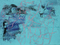 ohne Titel, 2018, Wachs, Pigment, Lehm, Öl, Ölkreide auf Jute, 60 x 80 cm