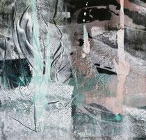 Kolbenkollaps, 2012, Acryl, Kreide auf Holz, 50 cm x 50 cm