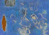 ohne Titel, 2018, Wachs, Öl, Ölkreide auf Jute, 60 x 80 cm
