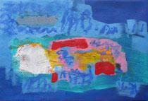 ohne Titel, 2019, 54 x 83 cm, Acryl, Pigmente, Öl auf Vlies u.Keilrahmen
