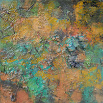 ohne Titel, 2014, Pigmente, Bitumen, Sand, Kohle, Eitempera, 30 x 30 cm