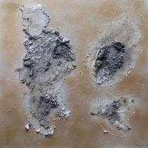 ohne Titel, 2016, Acryl, Kohle auf Leinwand, 50 x 50 cm