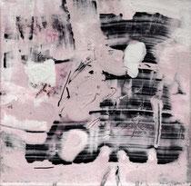 ohne Titel,2016, Bitumen, Acryl auf Leinwand, 30 x 30 cm
