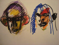 Doppelbildnis, Ölkreide auf Papier, 1985