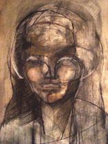 Porträtstudie 2, Mischtechnik 1980