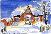 雪の中の家