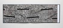 1. Arbeit 1997, 20 x 120 cm, Ritzzeichnung, Öl auf Papier / Leporello
