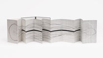 61. Arbeit 2019, 36 x 288 cm, Collage und Temperafarbe / Leporello