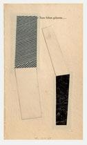 227. Arbeit 2005, 18 x 11 cm, Collage, Privatbesitz