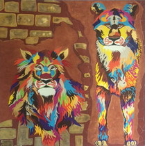 Lion Couple Color 1 Meter x 1 Meter