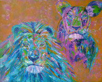 Lion Couple Color 100 cm x 80 cm