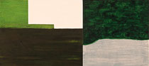 "Eve Ashcraft, Green and White, 2014, acrylic and gouache on two connected birch panels 18"" x 8"""