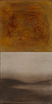 """Eve Ashcraft, Gold over Land and Sea, acrylic, pastel, mica and wax on two connected birch panels 6"""" x 12"""""""