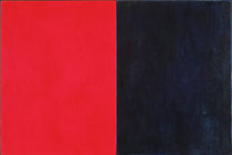 """Eve Ashcraft, Red and Blue, 2013, acrylic, mica and wax on two connected birch panels 18"""" x 12"""""""