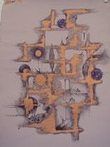 sur tissus peint: cuivre et stylo bille VENDU