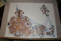effileurs        cuivre et pigment bleu          50x65