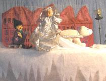 Die Schneekönigin nimmt Kay mit.