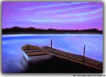 Pastellbild Stille See, Größe DIN A3 auf Tonpapier. Preis: 220,- inkl. Rahmen, Jahr: 2011