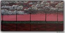 Acrylbild Abendrot, Landschaftsbild mit Bäum und Wolken. Größe 40x80x2cm, Preis 180€, Jahr 2011