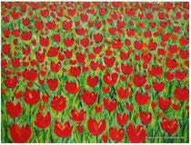 Acrylmalerei Tulpen abstrakt, Größe 80 x 60 x ca 4cm, Preis 560€, Jahr 2014,